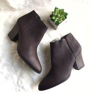 Franco Sarto Agenda Dark Brown Leather Bootie, 10
